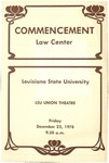 December 1978 LSU Law Commencement Program by LSU Law